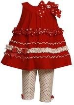 Little Girl 2T-6X U-Neck Ruffle Border A-Line Knit Dress Legging Set, Bonnie Jea