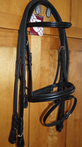 Bobby's COB Sz BLACK Padded MonoCrown Wide Flash Bridle w/Reins Choice - $148.95