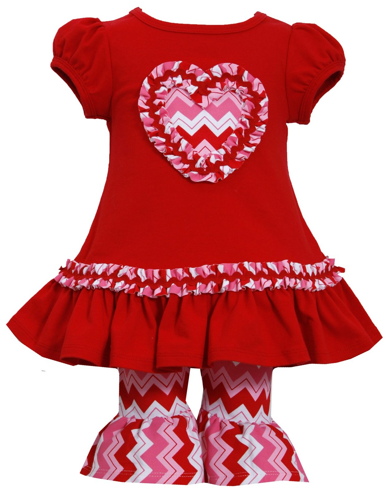 Baby Girl 3M-24M Cap Sleeve Chevron Heart Applique Dress Legging Set,Bonnie Jean