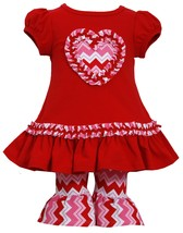 Baby Girl 3M-24M Cap Sleeve Chevron Heart Applique Dress Legging Set,Bonnie Jean image 1