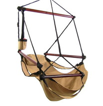 Tan Hanging Adjustable Hammock Chair Swing With... - $64.99