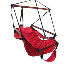 Red Hanging Adjustable Hammock Chair Swing With... - $64.99
