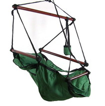 Green Hanging Adjustable Hammock Chair Swing With Pillow Footrest Drink ... - $64.99
