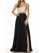 Great Gatsby Inspired Art Deco Formal Cap Sleeve Beaded Bodice Black & G... - $262.00