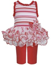 Little Girl 2T-6X Striped Heart Print Tier Mesh Tutu Dress Legging Set