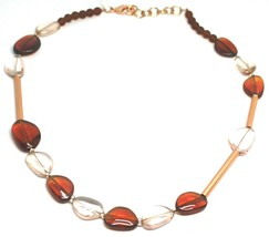 """ROSE NECKLACE AMBER PINK ROUNDED DROPS OF MURANO GLASS TUBE ALTERNATE 50cm 20"""" image 1"""