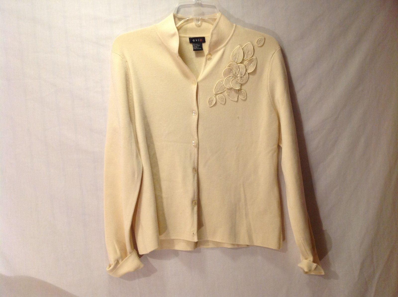 Women's Evie light yellow think long sleeve shirt with flowers