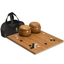 Go Game Set Etched Bamboo Board 0.8in Thick 2x Convex Melamine Stones w/... - $177.50