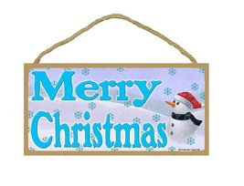 """Snowman Merry Christmas Holiday Sign 5""""x10"""" - $12.86"""