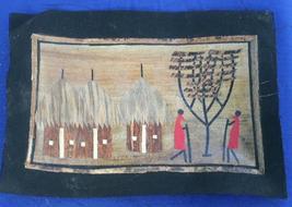 Village scene Marquetry African Folk Art #1 - $5.00