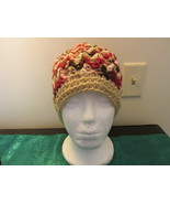 Handmade Womens V-Stitch Hat - Maroon Varigated... - $12.99