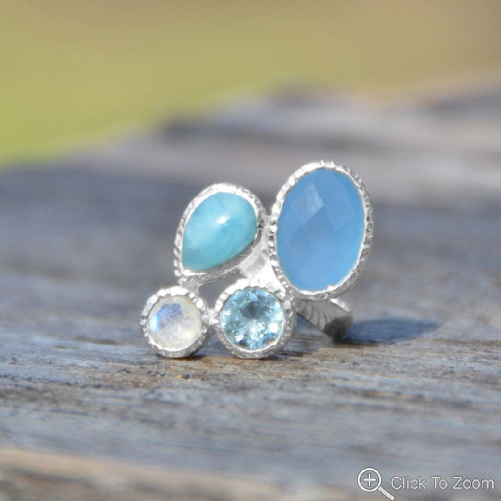 Chalcedony, Larimar, Topaz and Moonstone Ring Sterling Silver