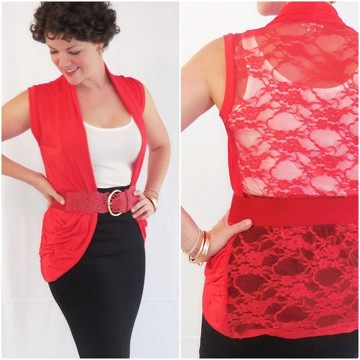 Red Rayon Lace Back Open Vest, Lightweight Rayon Layering Cardigan, Zenana