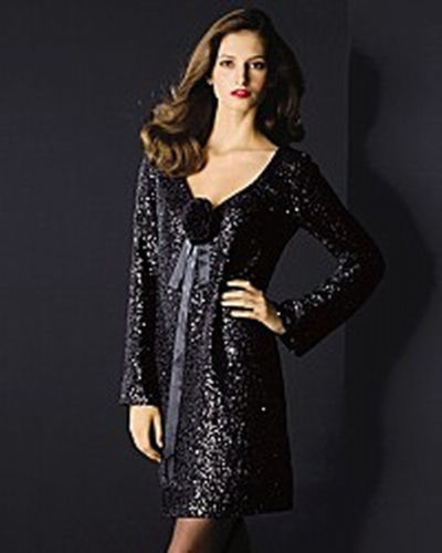 ELLEN TRACY ALLOVER SEQUINED BLACK COCKTAIL DRESS - US 12 - UK 16