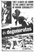The Degenerates Movie POSTER (1967) Sci-Fi/Thriller - $6.41+