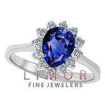 3CT 8x6MM WOMENS GORGEOUS PEAR SHAPED BLUE SAPPHIRE COCKTAIL RING 14K WG... - £188.66 GBP