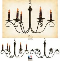 "Colonial Metal Candle Chandelier - ""Adams"" Six (6) Arm Candelabra Usa Handmade - $252.81"