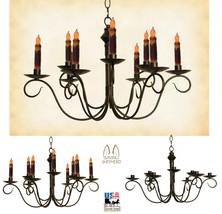 """2-Tier Colonial Metal Candle Chandelier Primitive """"Adams"""" 9 Arm Handmade In Usa - $262.61"""