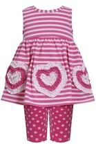 Baby Girl 3M-24M Pink Bonaz Heart Border Stripe Knit Dress Legging Set
