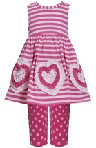 Little Girl 2T-6X Pink Bonaz Heart Border Stripe Knit Dress Legging Set