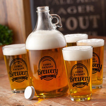 Personalized Neighborhood Brewery Growler Set (Black) - Great for Home Bars - $63.04