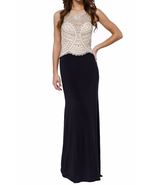 Great Gatsby Inspired Art Deco Formal Maxi Dress Beaded Halter Bodice in... - $258.00