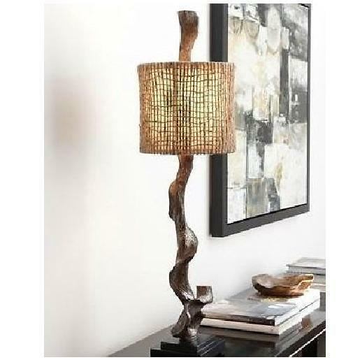 Primary image for Weathered Driftwood Table Lamp Brown 40H Rustic Twine Coastal Decor Light New