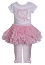 Little Girl 2T-6X Pink Sequin Heart Stripe Knit To Mesh Tutu Dress/Legging Set