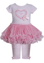 Baby Girl 3M-24M Pink Sequin Heart Stripe Knit To Mesh Tutu Dress/Legging Set