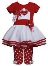 Little Girl 2T-6X Red/White Valentine Card Applique Tier Mesh Dress/Legging Set