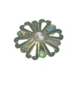 Vintage Sterling Silver Abalone Swirl Shape Pendant Brooch Mexico - $19.99