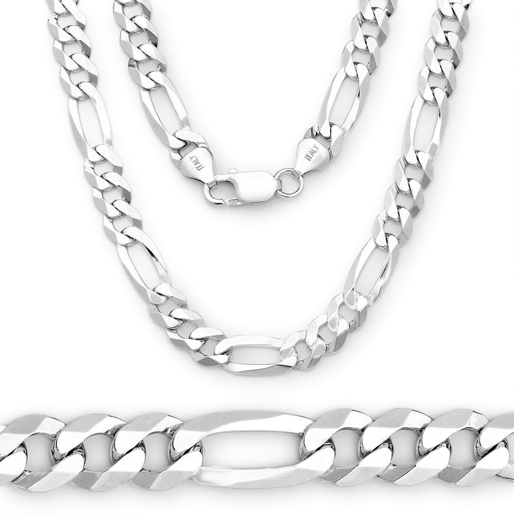 5.5MM Solid 925 Sterling Silver Figaro Link Italian Italy Men's Chain Necklace