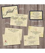 Beauty and the Beast Wedding invitation Set: RSVP, Reception, Envelope Navy Gold - $2.00