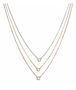 Ladies Graduated Multistrand Tri Tone Sterling Silver Necklace , 3 Solit... - $52.26