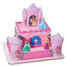 DISNEY PRINCESS Cake Topper Decoration CASTLE Kit Cupcake Belle Ariel Bi... - $18.27