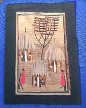 Village scene Marquetry African Folk Art #4 - $5.00