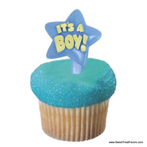 Baby Shower Cup Cake Topper Party It's Boy Party Blue Cake Favors Decoration Kit - $6.68