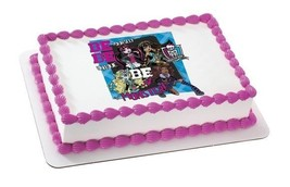 Monster High Girls Edible Cake Topper Party Supplies Strip Decoration Cupcake Sq - $10.84