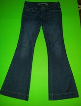 Women's American Eagle Outfitters Blue Denim Jeans AE 77 Flare Size 6 short - $12.19