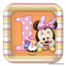 Minnie Mouse Baby PLATES CAKE 1st First Birthday Decoration Party Suppli... - $6.39