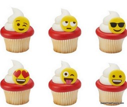 Emojis CupCake Cake Topper 12 18 24 Favor Decoration Birthday Emoticons ... - $6.88+