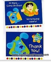 BLUES CLUES Party Supplies INVITATIONS THANK NOTES Favor Birthday Dog De... - $6.78
