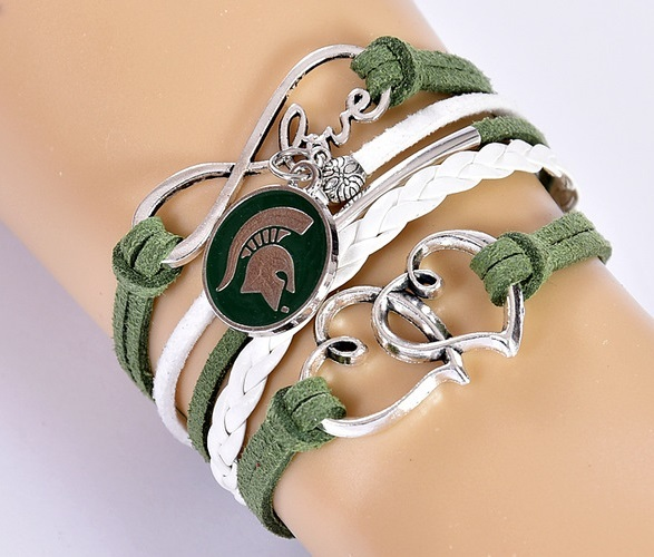 Michigan State Spartans College Fan Shop Infinity Hearts Bracelet Jewelry