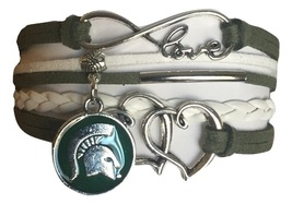 Michigan State Spartans College Fan Shop Infinity Hearts Bracelet Jewelry - $12.99