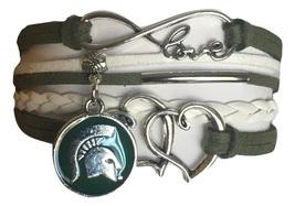 Michigan State Spartans College Fan Shop Infinity Hearts Bracelet Jewelry - $12.99