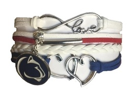 Penn State Nittany Lions College Fan Shop Infinity Hearts Bracelet Jewelry - $12.99