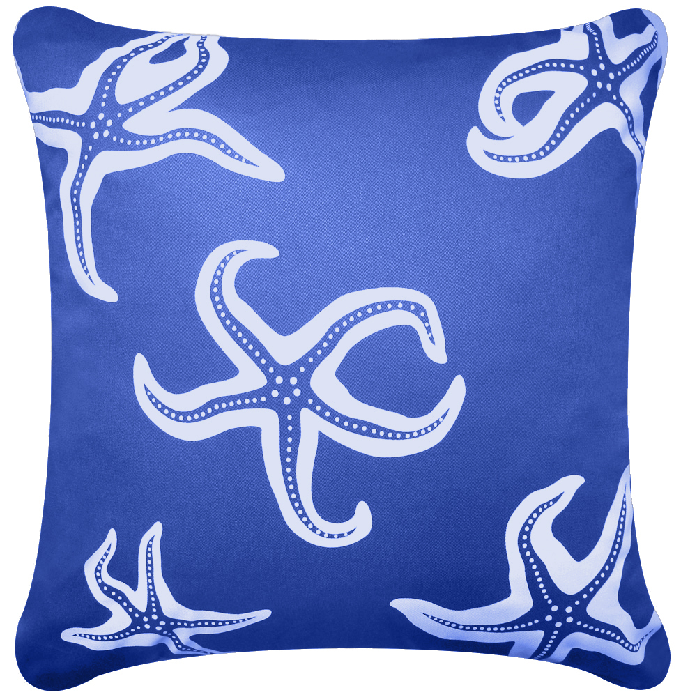 Starfish blue throw pillows