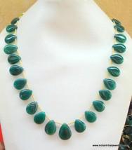 215 ct green onyx gemstones bead drops necklace strand - $78.21