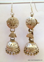 vintage antique ethnic tribal old silver earrings earplug dangle india - $98.01
