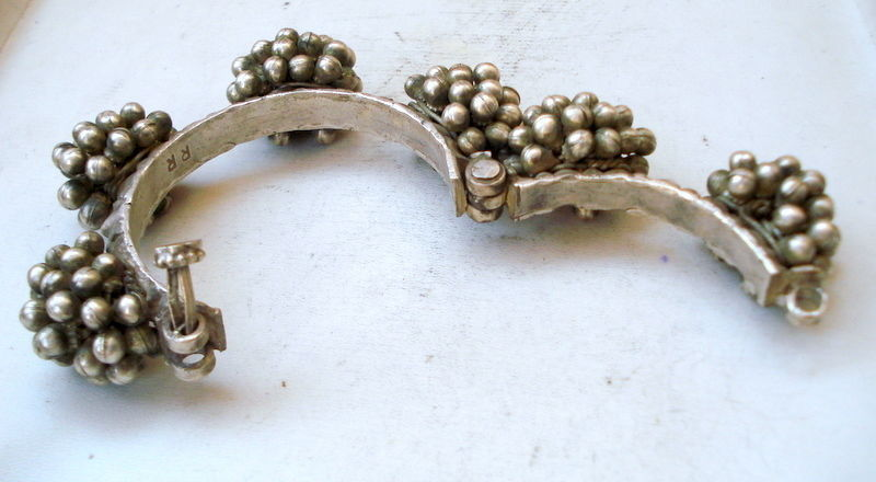 old silver bracelet bangle cuff vintage antique tribal belly dance jewelry india